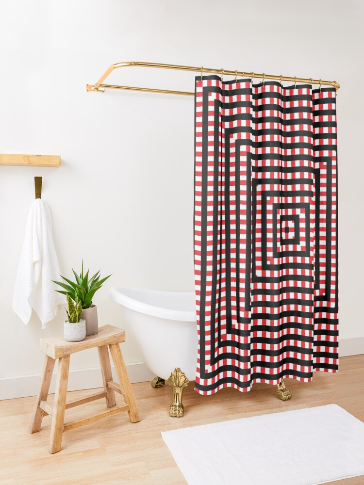 Alternate view of #Pattern, #design, #abstract, #art, illustration, square, illusion, paper, decoration Shower Curtain