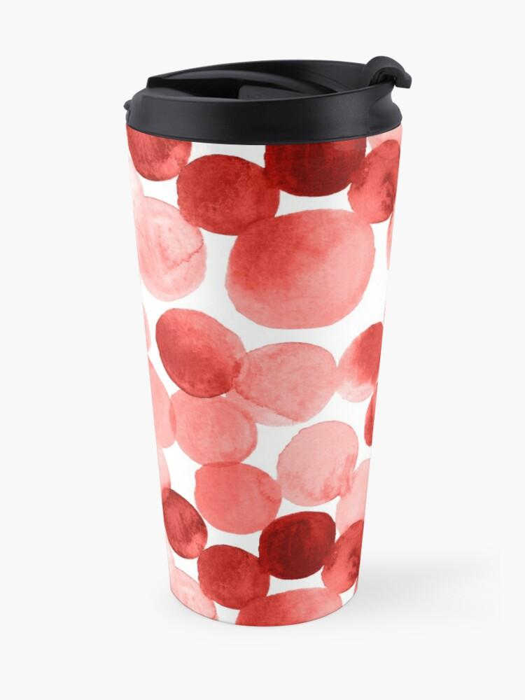 Alternate view of Watercolor Circles - Red Travel Mug