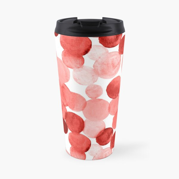 Watercolor Circles - Red Travel Mug
