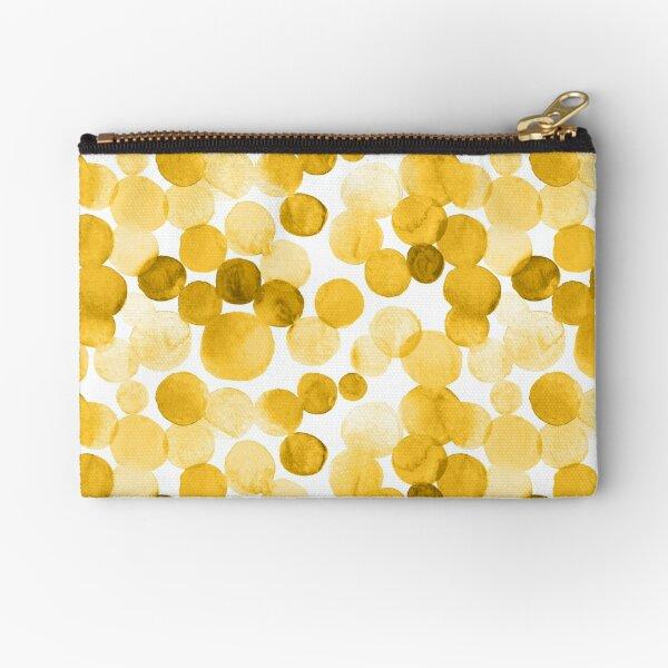Watercolor Circles - Mustard Yellow Zipper Pouch