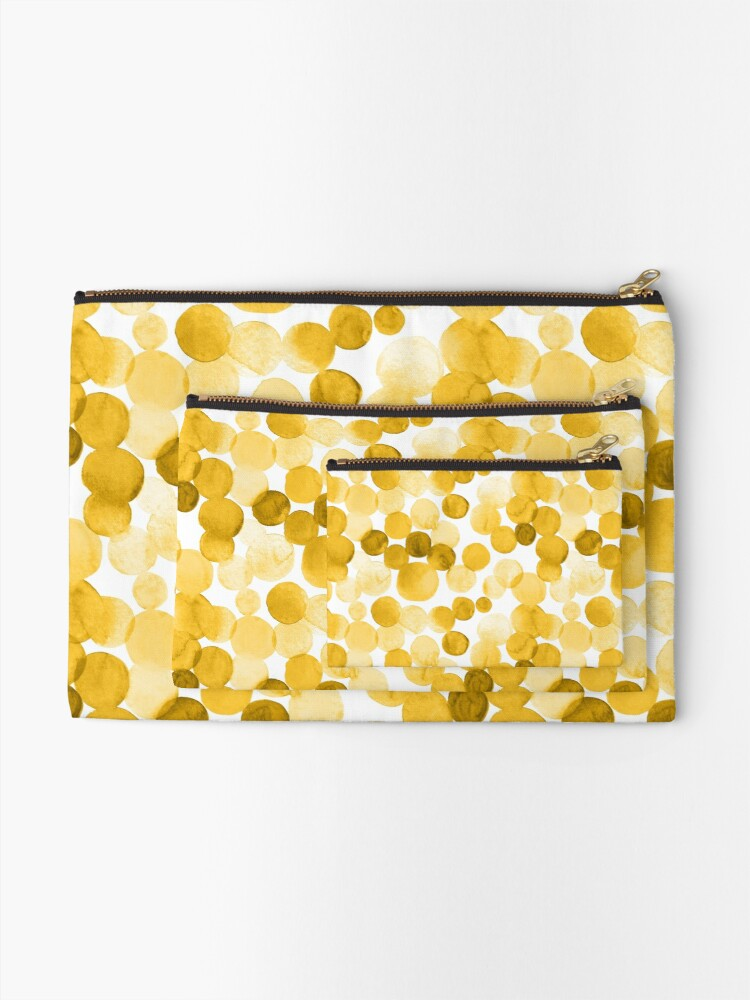 Alternate view of Watercolor Circles - Mustard Yellow Zipper Pouch