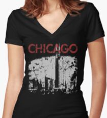 Vintage Chicago Tower Skyline Women's Fitted V-Neck T-Shirt