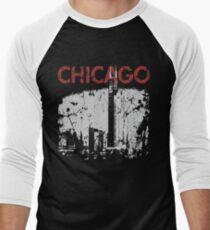 Vintage Chicago Tower Skyline Men's Baseball ¾ T-Shirt