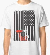 Guantanamo US Flag Political T-shirt. Prisoner behind bars. Classic T-Shirt