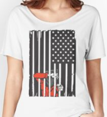 Guantanamo US Flag Political T-shirt. Prisoner behind bars. Women's Relaxed Fit T-Shirt