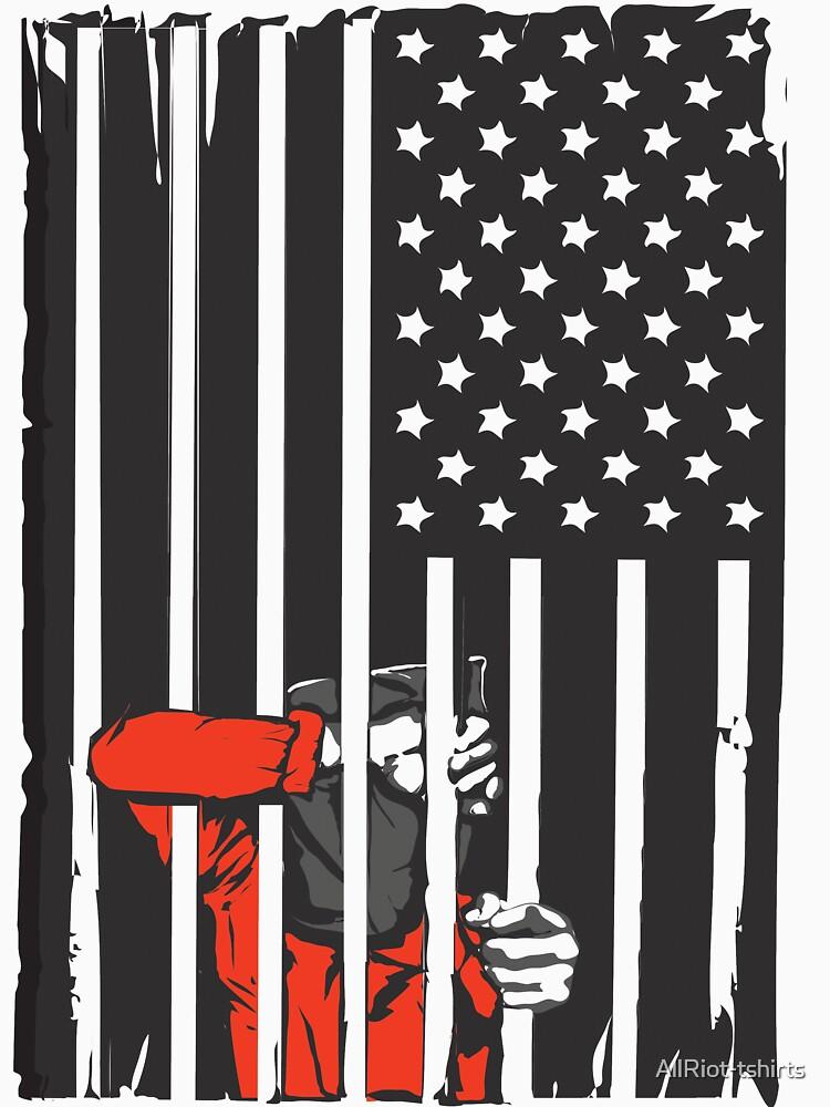 Guantanamo US Flag Political T-shirt. Prisoner behind bars. | Unisex T-Shirt