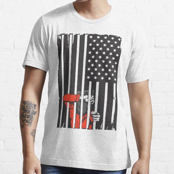 Guantanamo US Flag Political T-shirt. Prisoner behind bars. Essential T-Shirt