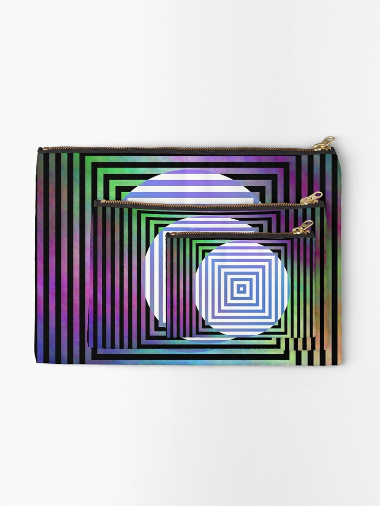 Alternate view of #Illusion, #pattern, #vortex, #hypnosis, abstract, design, twist, art, illustration, psychedelic Zipper Pouch