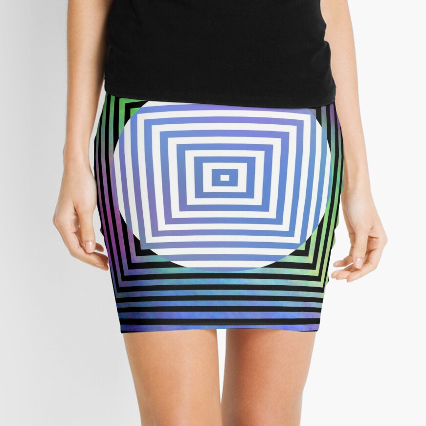 #Illusion, #pattern, #vortex, #hypnosis, abstract, design, twist, art, illustration, psychedelic Mini Skirt