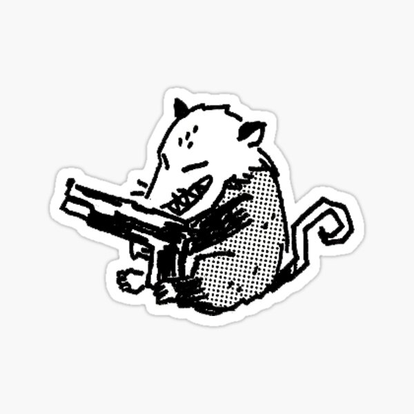 Possum with a Gun! Sticker
