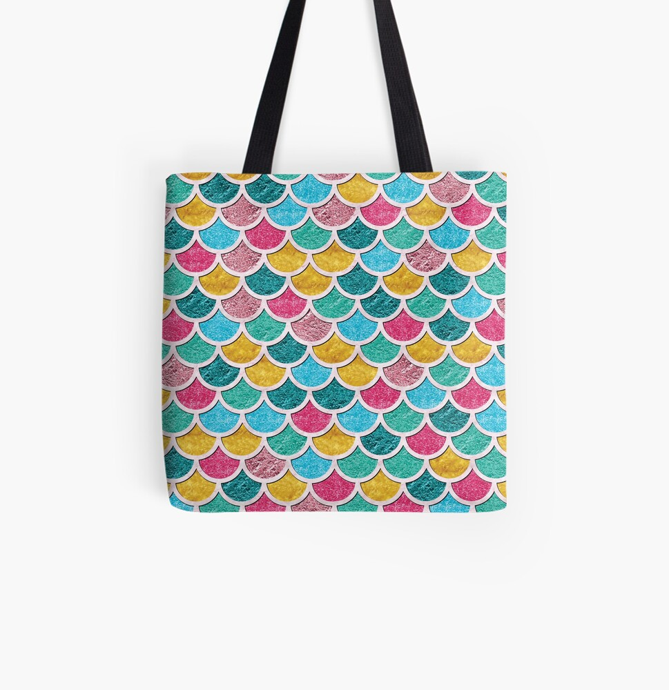 Colorful Mermaid Scales  All Over Print Tote Bag