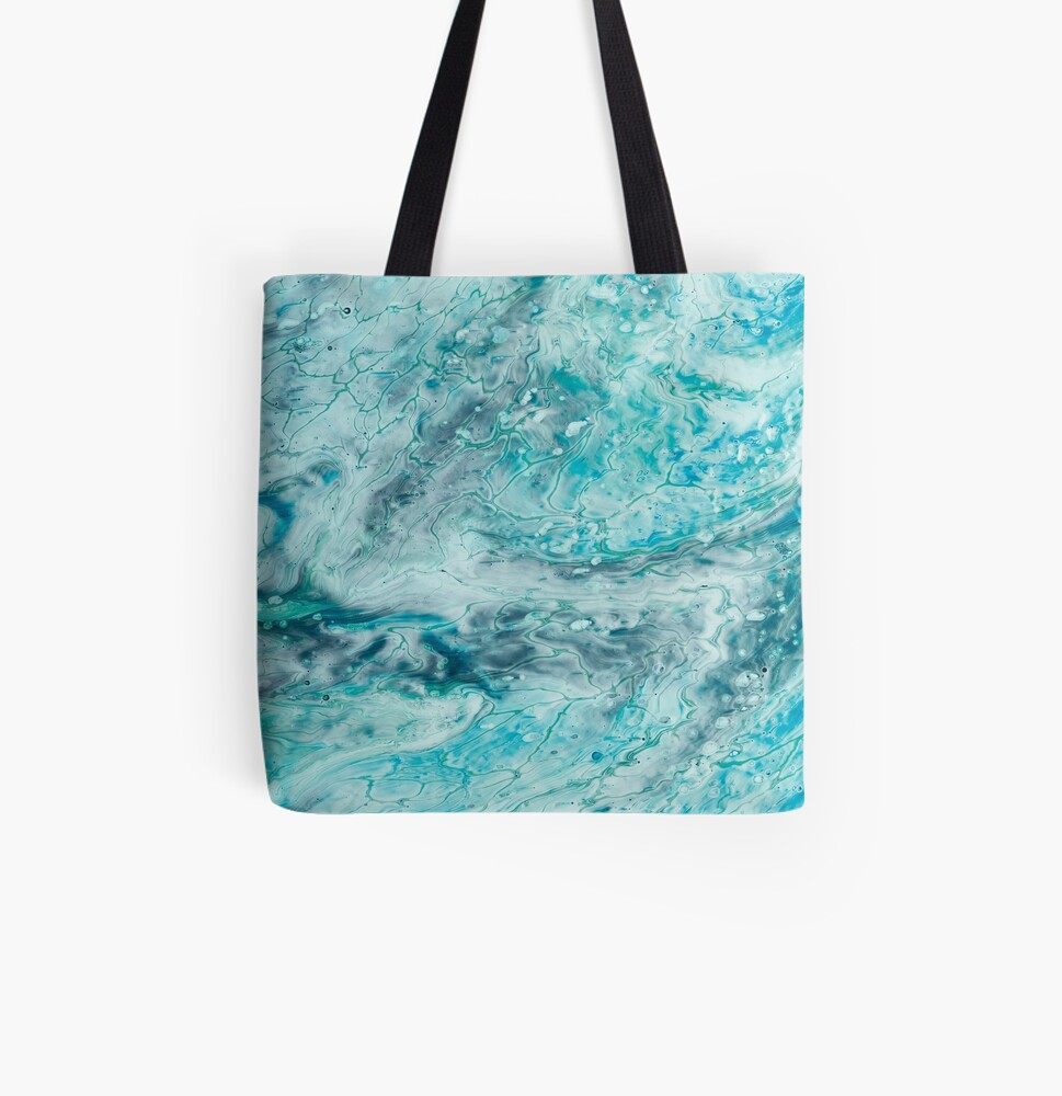 Turquoise Abstract Paint Pour Art  All Over Print Tote Bag