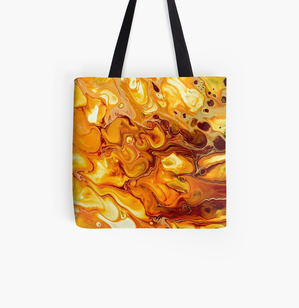 Gold Fluid Art Pour  All Over Print Tote Bag