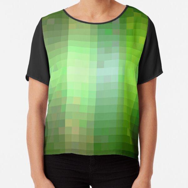 Pixelated Green Stripes  Chiffon Top