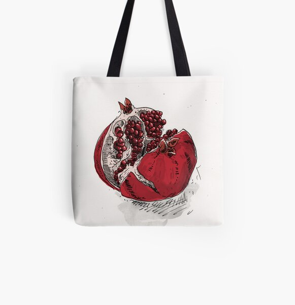 pomegranate drawing All Over Print Tote Bag