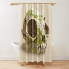 cat skull decorated with wasabi flowers Shower Curtain