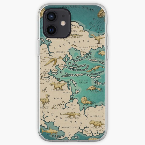 map of the supercontinent Pangaea iPhone Soft Case