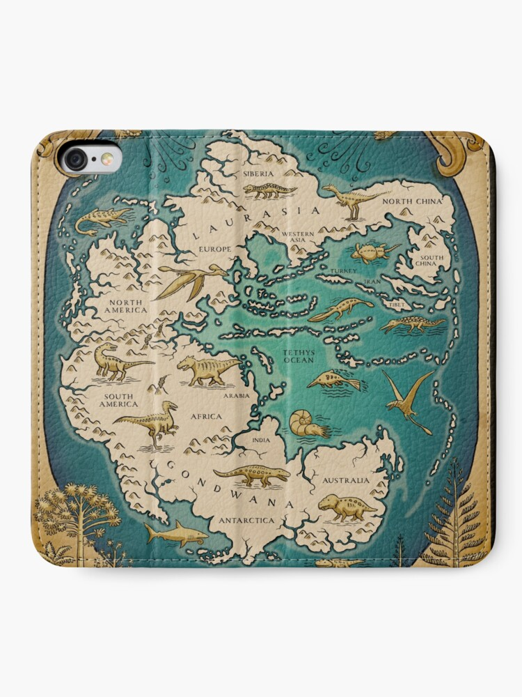 Alternate view of map of the supercontinent Pangaea iPhone Wallet