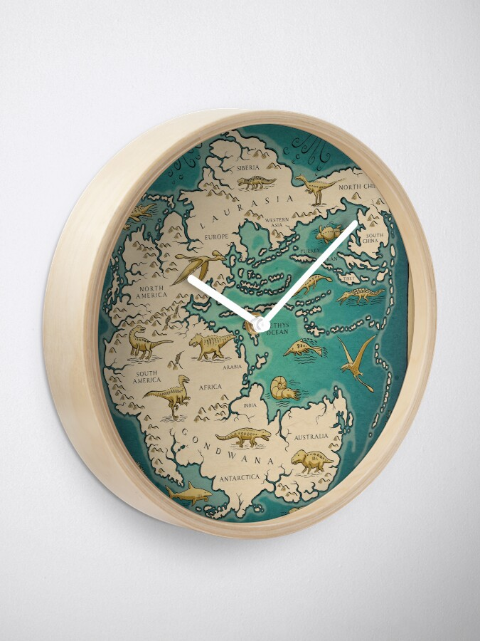 Alternate view of map of the supercontinent Pangaea Clock