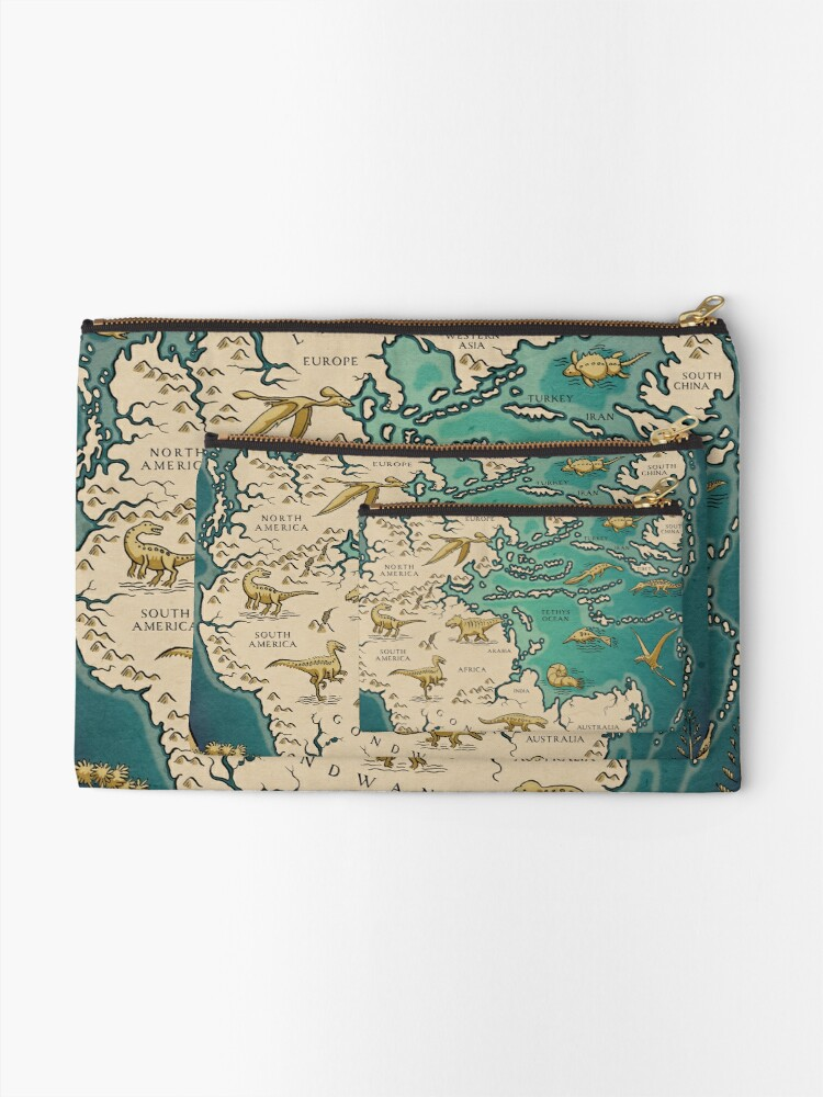 Alternate view of map of the supercontinent Pangaea Zipper Pouch