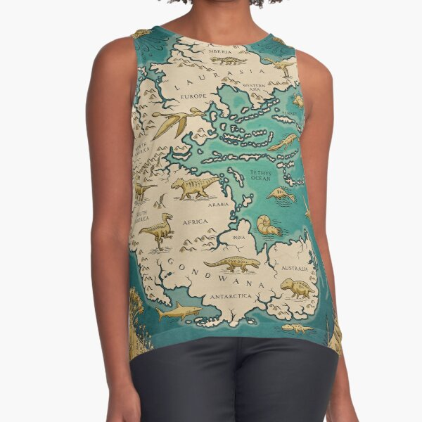 map of the supercontinent Pangaea Sleeveless Top