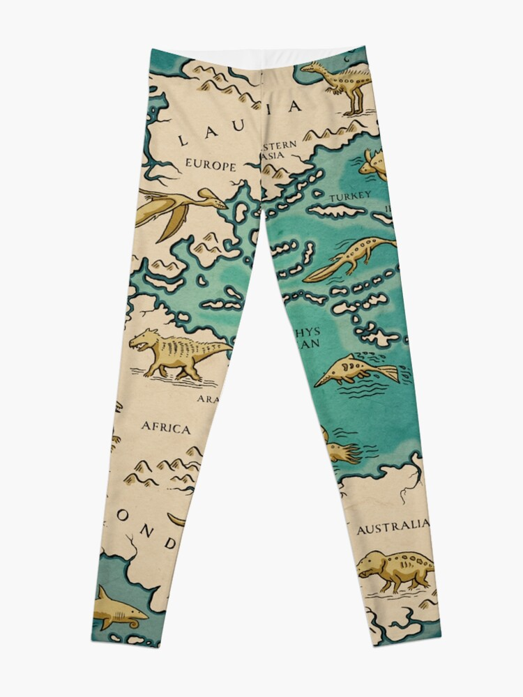 Alternate view of map of the supercontinent Pangaea Leggings