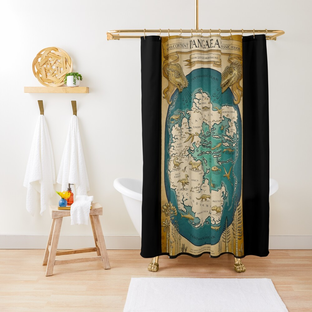 map of the supercontinent Pangaea Shower Curtain