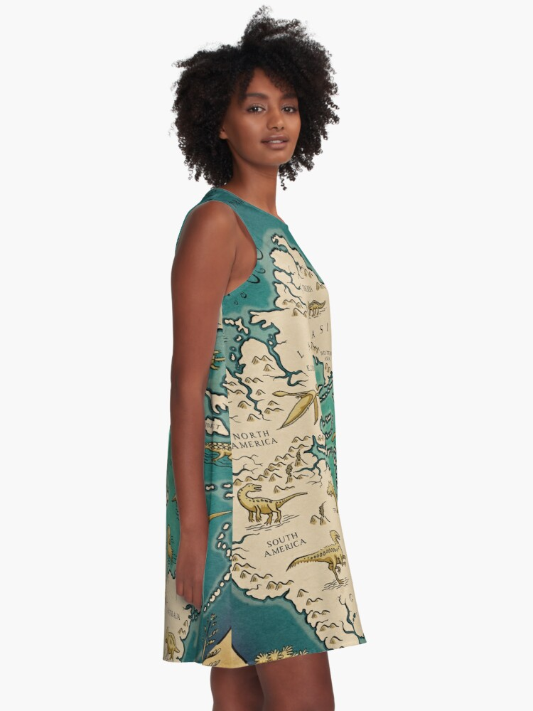Alternate view of map of the supercontinent Pangaea A-Line Dress