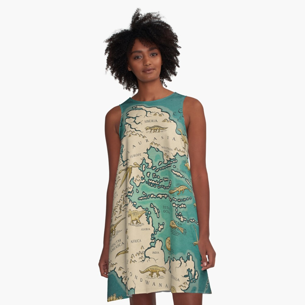map of the supercontinent Pangaea A-Line Dress