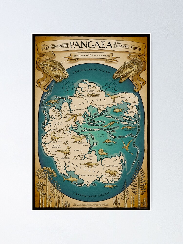 Alternate view of map of the supercontinent Pangaea Poster