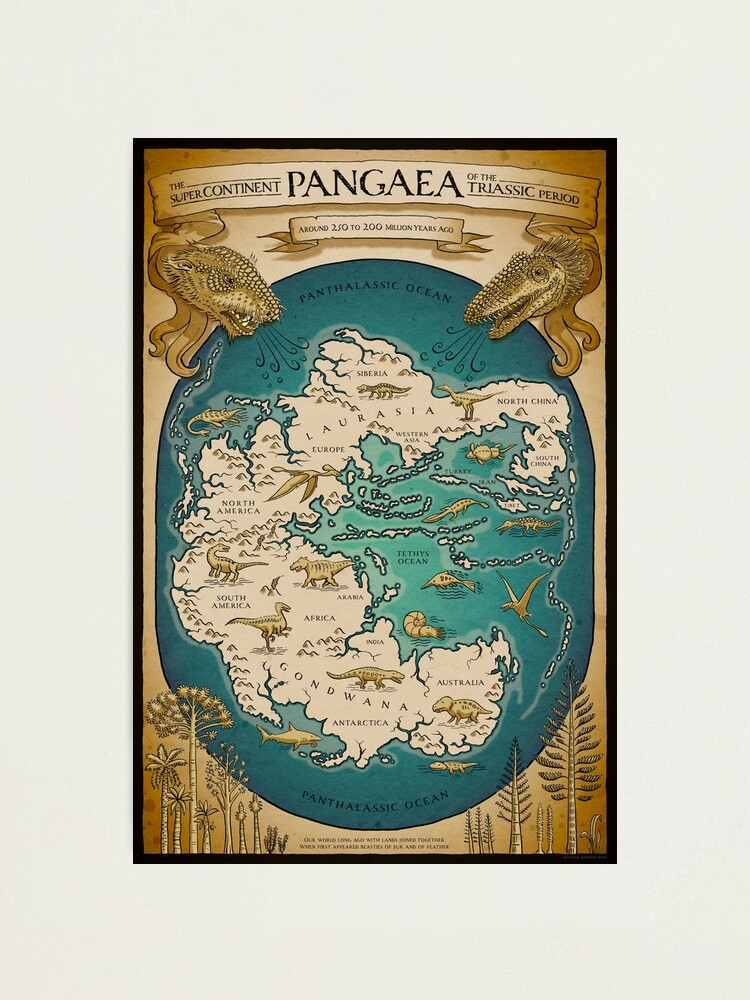 Alternate view of map of the supercontinent Pangaea Photographic Print