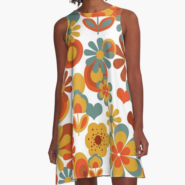 70s Flower Power  A-Line Dress