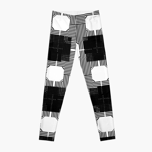 #Illustration, #pattern, #decoration, #design, abstract, black and white, monochrome, circle, geometric shape Leggings
