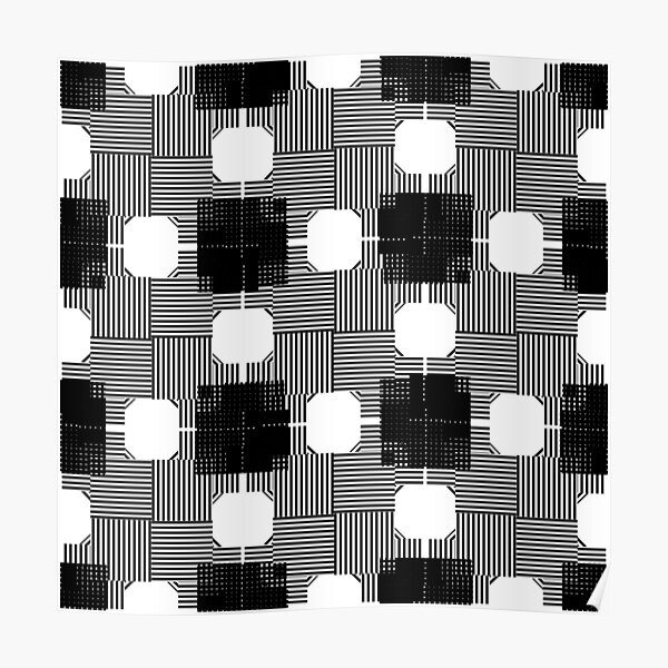 #Illustration, #pattern, #decoration, #design, abstract, black and white, monochrome, circle, geometric shape Poster