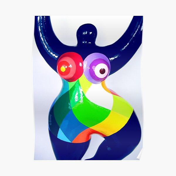 Blue Nana Biriney - with coloured polygones Poster