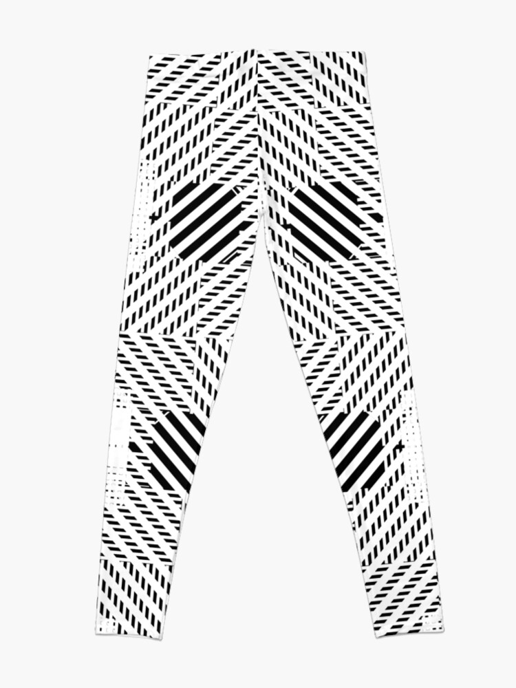 Alternate view of #Illustration, #pattern, #decoration, #design, abstract, black and white, monochrome, circle, geometric shape Leggings