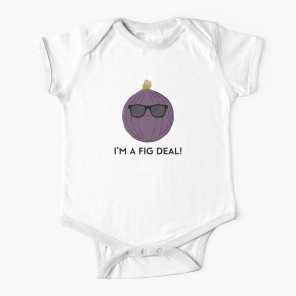 Funny fig wearing sunglasses I'm a fig deal Short Sleeve Baby One-Piece