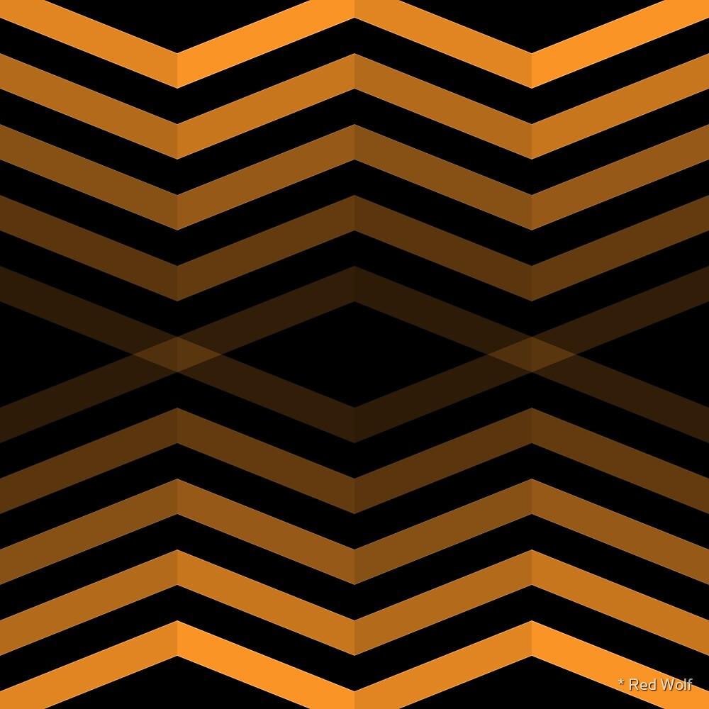 Geometric Pattern: Chevron Cascade: Orange Dark by * Red Wolf