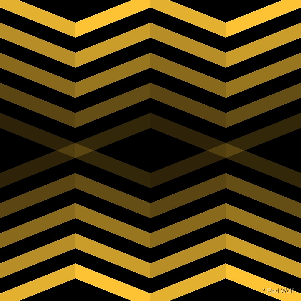 Geometric Pattern: Chevron Cascade: Yellow Dark by * Red Wolf