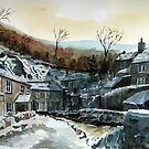 """Winter On Castleton"" - Cottages, Castleton, Derbyshire Peak District by Timothy Smith"