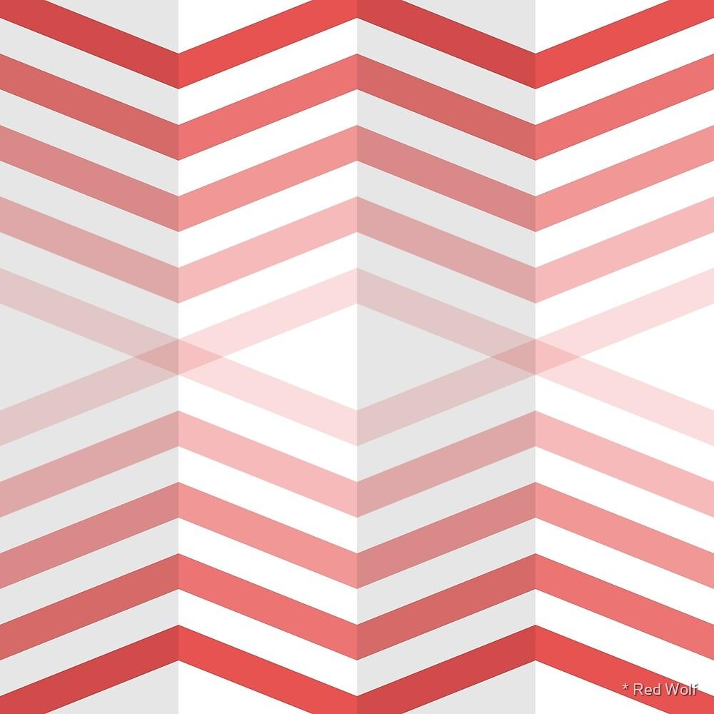 Geometric Pattern: Chevron Cascade: Red Light by * Red Wolf