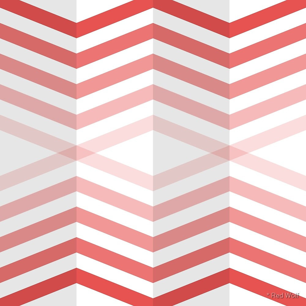 Geometric Pattern: Chevron Cascade: Red Light by * Red Wolf