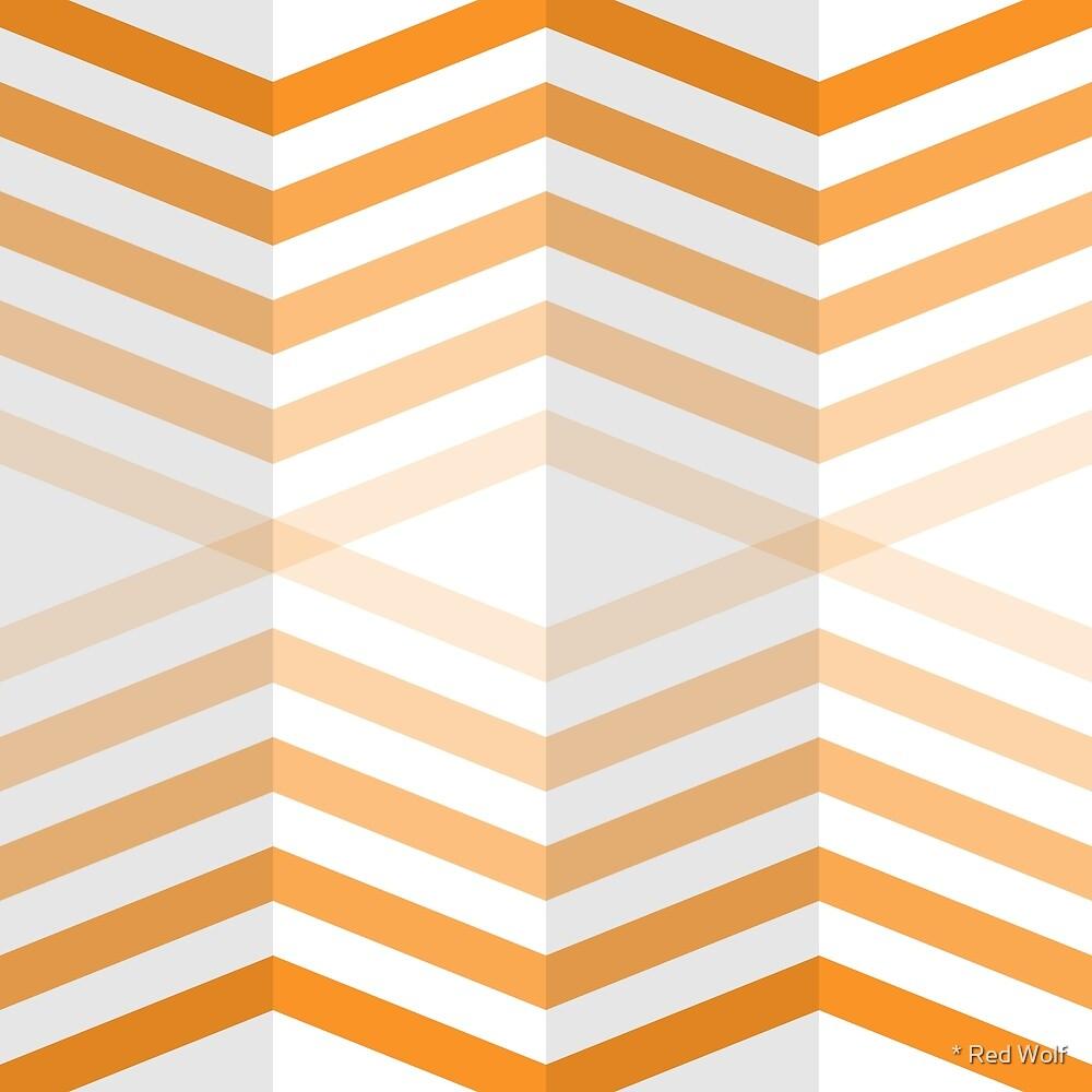 Geometric Pattern: Chevron Cascade: Orange Light by * Red Wolf