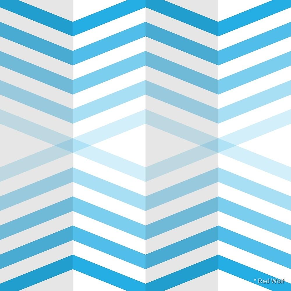 Geometric Pattern: Chevron Cascade: Blue Light by * Red Wolf