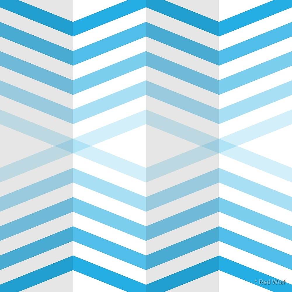 Geometric Pattern: Chevron Cascade: Blue Light by * Red Wolf
