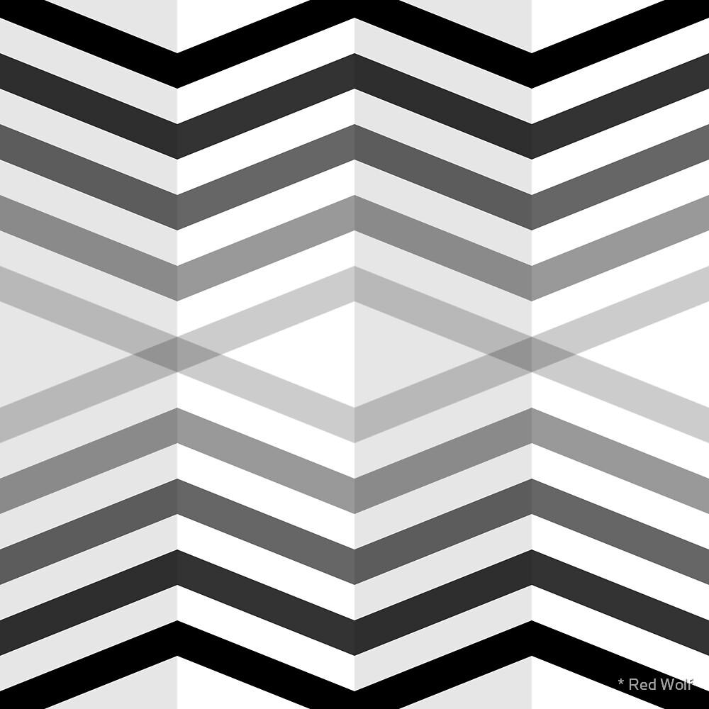 Geometric Pattern: Chevron Cascade: Black by * Red Wolf