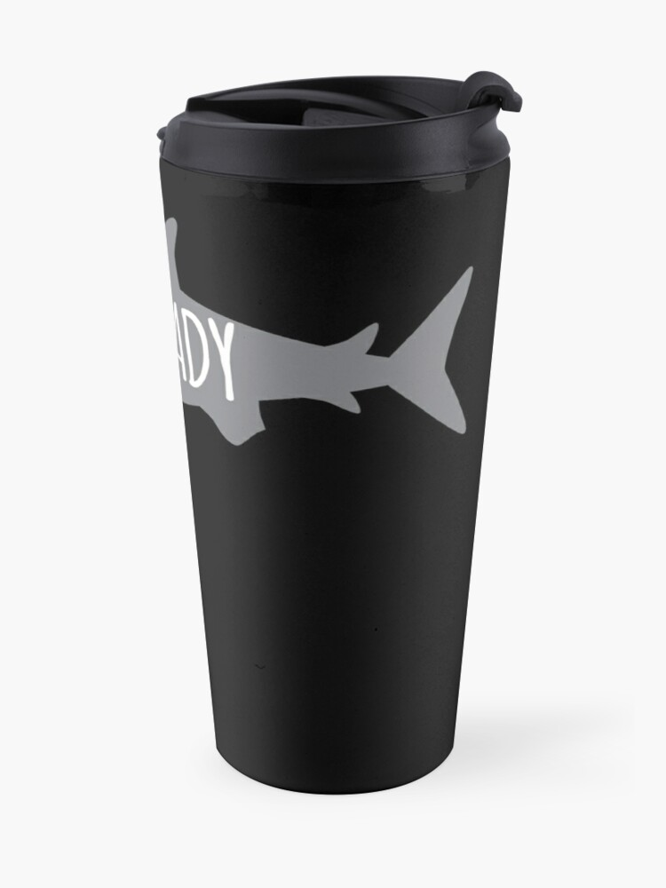 Alternate view of CRAZY Shark lady  Travel Mug