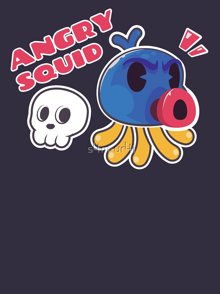 Angry Squid Illustration Kawaii by s4m-ur4i
