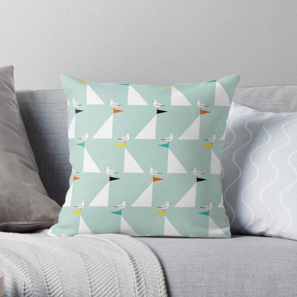 Seagulls and Sails - Eau de Nil Throw Pillow