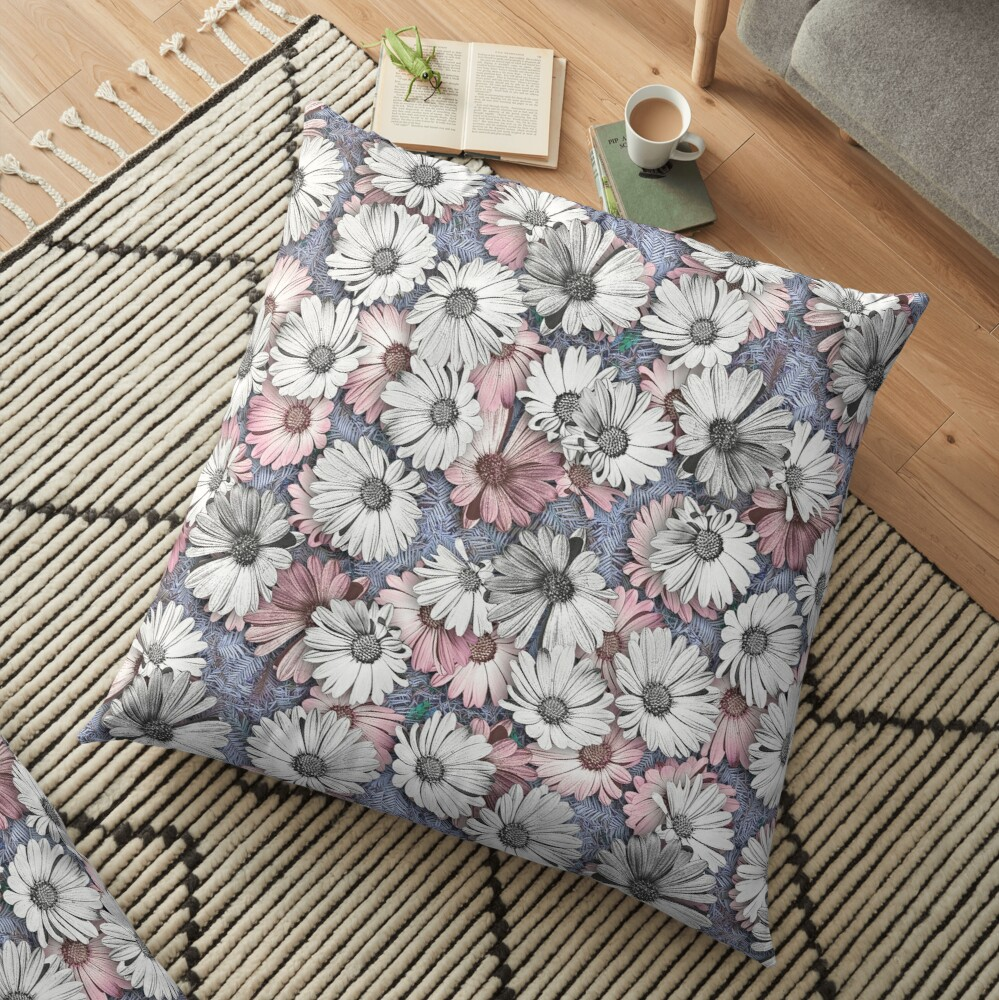 AFRICAN DAISIES ON THE FOREST FLOOR COLLAGE 2 Floor Pillow